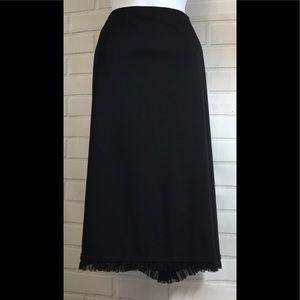 Michele Sz14 Black Knee length ruffle bottom skirt